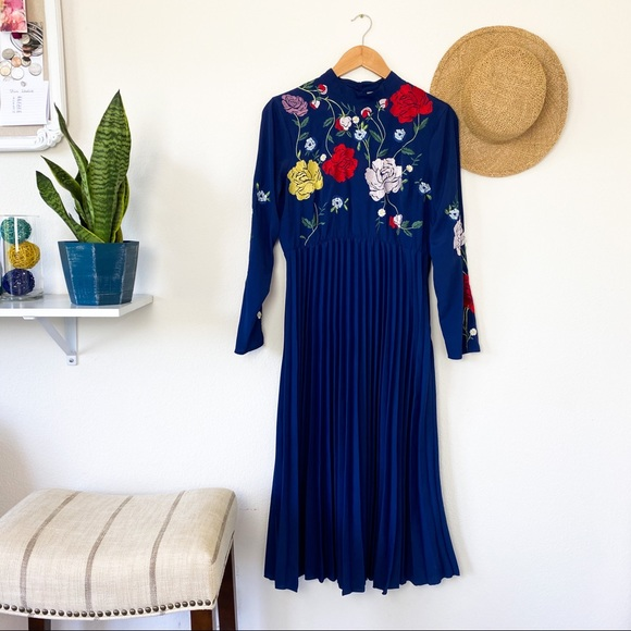 ASOS Dresses & Skirts - ASOS Blue Floral Embroidered Pleated LS Dress